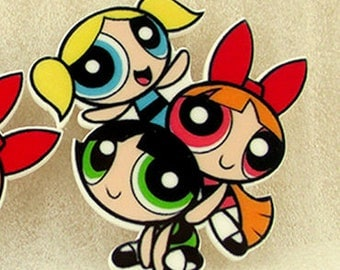 4 pcs. POWER PUFF GIRLS Huge 46MM X 36mm Planar flatback resins Hair bow centers. Absolutely Darling