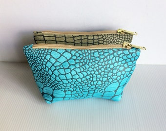 Set of 2 Zipper Pouches, Alligator Crocodile Pattern Texture, Cosmetic Bag, Pouch Tutoial, Zipper Pouch,Toiletry Bag, lady accessories, gift