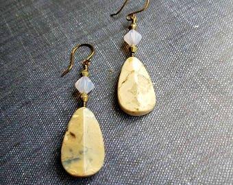 African opal and pale pink Swarovski crystal earrings on brass or silver-african opal jewelry-african opal dangle earrings