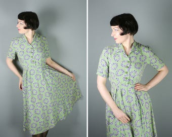 40s dress in a GREEN and white STRIPE print with lilac floral GARLAND print - 1940s art deco shirtwaister tea dress - uk8 / S