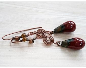 Red drop earrings - red ceramic drop copper earrings
