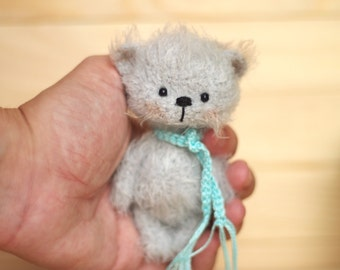 4 inches miniature Teddy bear, Blythe friend artist teddy bears miniature teddy bear Blythe friend toy crochet teddy bear ooak teddy bear