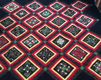 """Four Patch Poisie  Christmas Quilt (72"""" x 72"""")"""