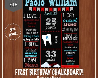 Vintage Airplane First Birthday Chalkboard Poster - Digital File - Red Airplane Chalkboard - Boy's First Birthday Chalkboard - Airplane
