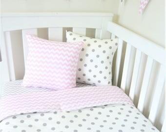 Grey spot and  pink chevron nursery set items