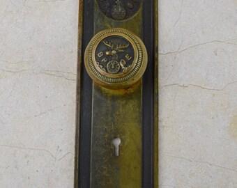 Antique BPOE Architectural Bronze Brass Elk Doorknob with Backplate, Antique Hardware