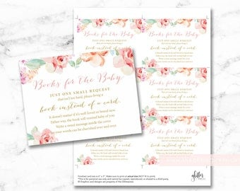Floral watercolor baby shower book request cards printable, books for baby insert, bring a book instead of a card DIY, INSTANT DOWNLOAD 003