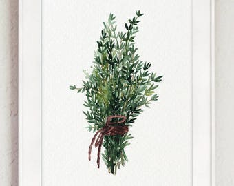 Thyme Bundle Green Herb Kitchen Art Print Dining Room Watercolor Painting, Botanical Home Garden Medicinal Plants Herbs Chart Illustration