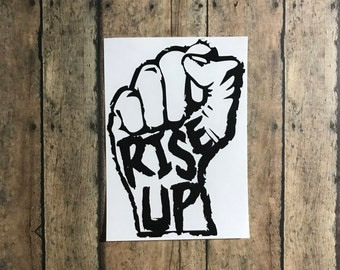 rise up decal / rise / up / twd / inspired / stand / fist / equality / zombie / rick
