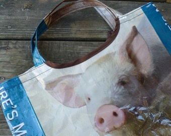 Recycled Repurposed 50lb Pig Feed Bag Tote