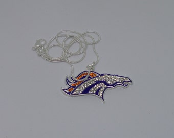 Denver Broncos Rhinestone Pendant with Snake Chain Necklace