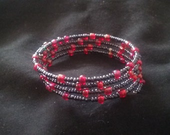 Pink and Black Seed Bead Memory Wire Bracelet, Cuff Style Bracelet, Ready to Ship, Memory Wire Jewelry