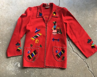 SALE - Mexican Embroidered Wool Jacket - M