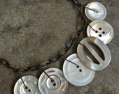 RESERVED for BETTY ANN- Vintage Mother of Pearl Button and Buckle Necklace/Button Necklace/ Statement Necklace/Pearl and Leather