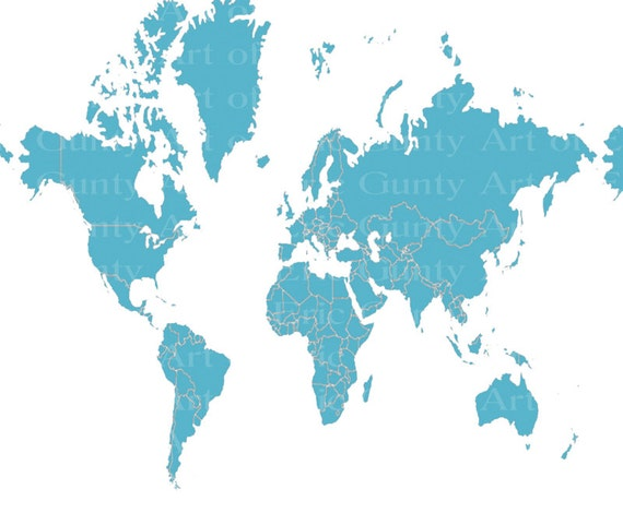 Light Blue World Map Birthday - Edible Cake and Cupcake Topper For Birthday's and Parties! - D22026