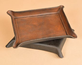 Valet Tray Leather - Leather Catchall - Full Grain Leather Tray