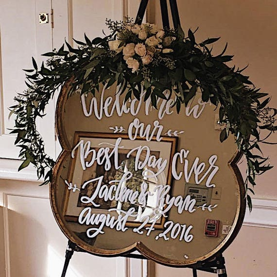 Wedding welcome sign on mirror, custom wedding day decor, wedding sign on mirror, seating chart,, classy hand lettered signage