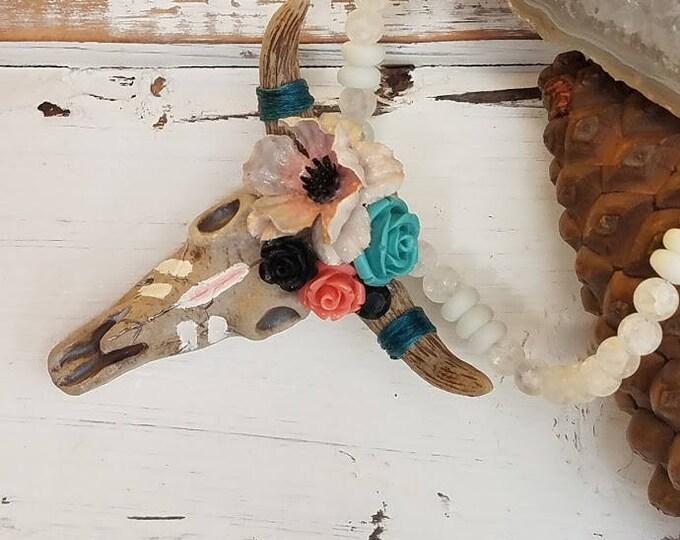Pink, White, Turquoise Brahman Longhorn skull Native American boho inspired choker
