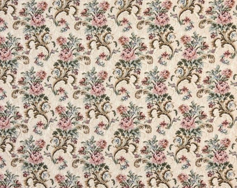 Pink Beige And Green Floral Tapestry Upholstery Fabric By The Yard | Pattern # H858