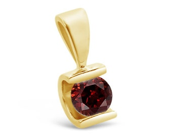 1/2 ct Garnet Pendant- Yellow Gold Pendant 14K-Garnet necklace-Women Jewelry-Birthstone necklace-0.50 Carats red garnet-Mother's day present
