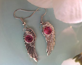 Angel wing earrings, Swarovski earrings, Angel wing jewelry, handcrafted jewelry, handcrafted, handmade, trendy jewelry