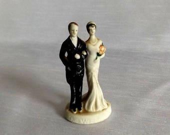 Vintage 1920s Wedding Cake Topper - Bisque  Hand Painted Flapper Era Wedding Cake Topper - Great Gatsby Wedding