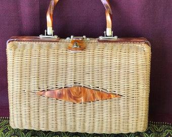 Rattan Wicker Straw 1960s Handbag Purse/Plastic Coated/Amber Lucite Handle & Clasp/HongKong/Rectangular/Basketweave/Midcentury