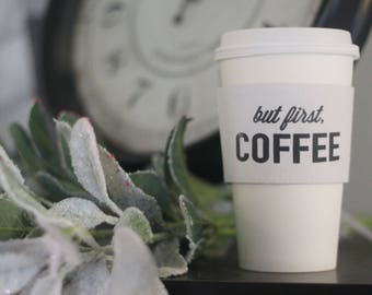 Set 24 White Coffee Cup Sleeves - But First, Coffee
