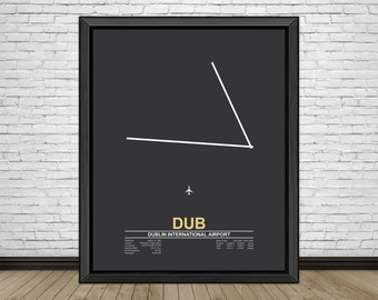 Dublin International Airport (DUB) Dublin, Ireland, Minimalist Style Airport Runway Prints with Airport Facts