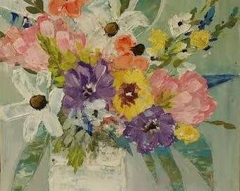 Original Soft pastel florals 12x12