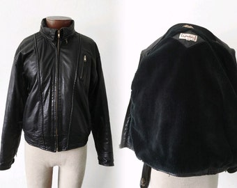 Vtg hooded LEATHER jacket - faux fur lined - sz S