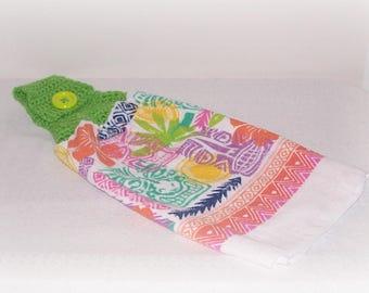 Tiki Tropical Towel Crochet Green Orange Tiki Heads Hanging Towel  Crochet Towel Topper Kitchen Hanging Dish Towel Housewarming Gift Towel