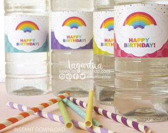 Rainbow Printable Water bottle labels Digital File PDF, drink wrappers, birthday party decorations, non editable, non personalized