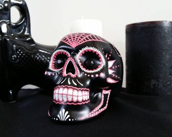 Hand painted ceramic sugar skull candle holder dia de los muertos style in rose pink and white