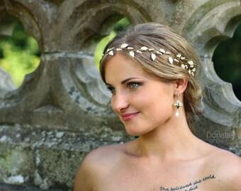 Wedding hair piece, Bridal hairpiece ,Gold Bridal hair Vine, Bridal hair piece, Bridal headpiece,Grecian Headband ,Leaf hair vine- MIRABELLE