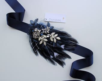 Navy Wedding Belt ,Wedding sash,  Bridal Sash, Blue belt ,Wedding dress belts and sashes ,Hand Beaded Vintage style Feather- DEXTRA