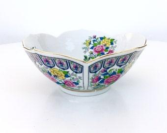 Lotus Flower Bowl, Gold Rim, Chinoiserie, Hollywood Regency, Japan, Asian Serving Bowl, Vintage Home Decor, Pink and Blue Floral Bowl