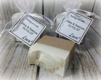Personalized Oatmeal Soap Wedding Favors / Handmade Vegan Wedding Favors / Bridal Shower
