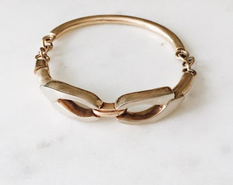 1980's Dead Stock Vintage Gold Half Chain Cuff Bangle 7.5""