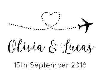 """SAVE the DATE PLANE stamp - wedding stamp, invitations stamp, tags and envelopes stamp, wedding stationery, diy bride, 3""""x2"""" (cstd91)"""