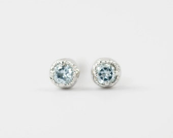 Tiny aquamarine studs earrings, 14k gold, rose gold, white gold, small dainty solitaire antique march birthstone, dal-e101-2mm-aqu