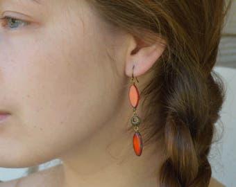 Bohemian Earrings, Orange Earrings, Czech Beaded Earrings, Boho Earrings, Long Beaded Earrings, Brass Earrings, Long Boho Earrings