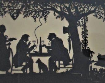 19th c Victorian Folk Art Silhouette Cut Paper Elaborate Antique Signed