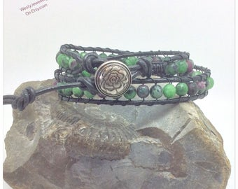 Ruby Zoisite Wrapped Bracelet Ruby Zoisite Wrap Bracelet Ruby Zoisite Bracelet Ruby Zoisite Genuine Gemstone Bracelet July Birthstone Ladies