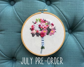 July PRE-ORDER Spot 3 - Embroidered Bridal Bouquet Portrait Custom Hoop Art. Hand Embroidery Floral Keepsake. Wedding Cotton Anniversary.