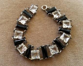 Vintage Art Deco 1920s Sterling and Open Back Crystal Art Deco Bracelet