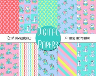 Pastel Pokemon Themed A4 Digital Paper - Instant Download for Printing and Scrapbooking