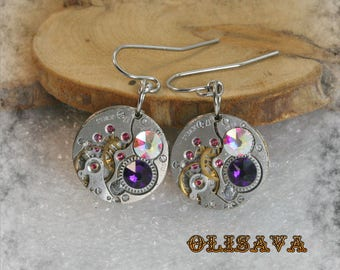 Steampunk Earrings  Vintage Mechanical Watch Movement and  Swarovski crystals , Clockwork Earrings , Steampunk jewelry