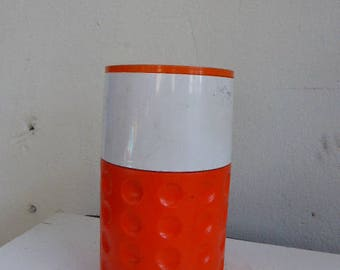 GLACIERE, THERMOS, ICE box, vinyl cylindrical ice bucket 1970, brand Supertherm, orange plastic