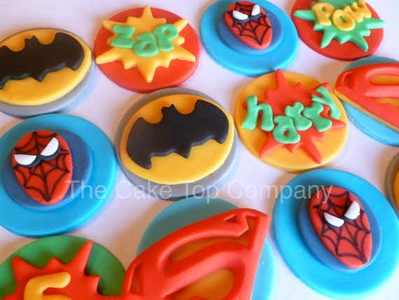 Fondant spiderman cupcake toppers - photo#27